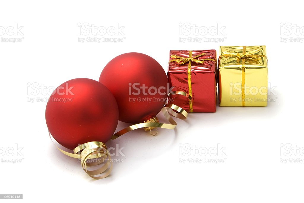 Christmas gifts and ornaments royalty-free stock photo