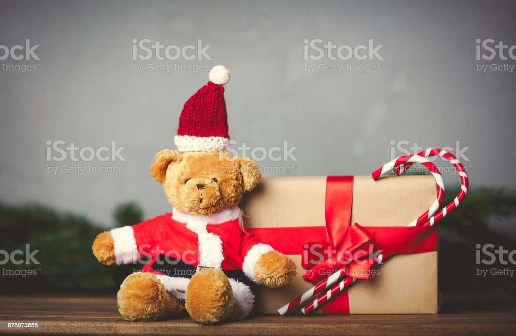 Christmas gifts and Teddy bear stock photo