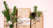 istock Christmas gifts are decorated with natural materials and wooden star trinkets. Zero Waste Christmas 1284100046