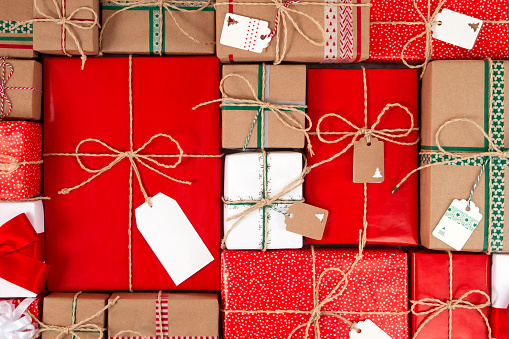 Christmas Gifts Boxes With Empty Tags Stock Photo - Download Image Now