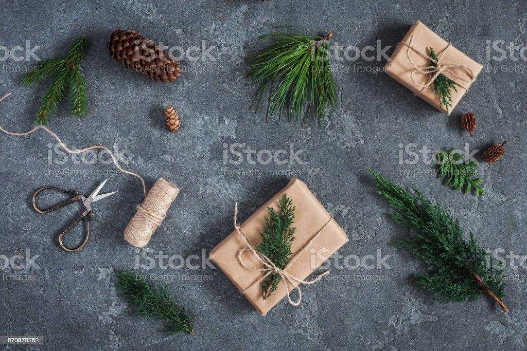 Weihnachtsgeschenke Verschiedene Winter Pflanzen Flach Legen Top ...