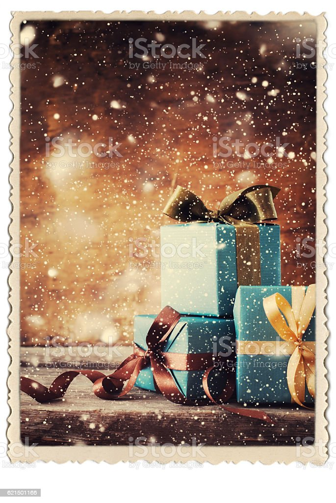 Christmas Gifts Festive Boxes Vintage Photo Frame foto stock royalty-free