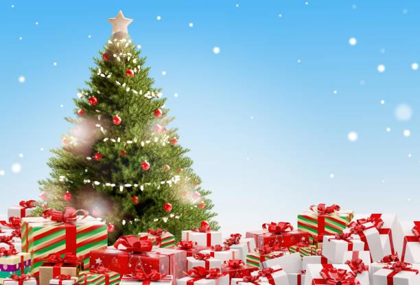 Weihnachtsgeschenke festliche Geschenke Design 3D-Illustration – Foto