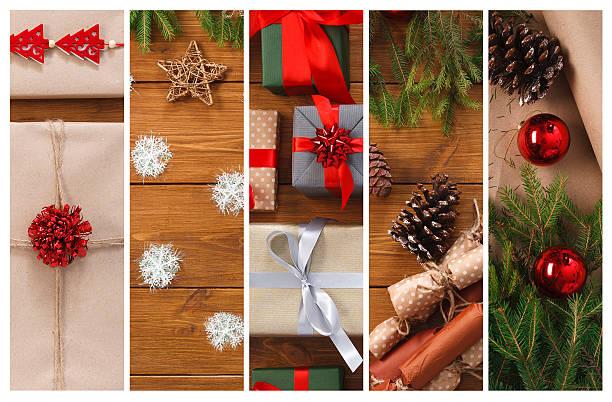 christmas gifts, garlands and present boxes collage background - foto collage geschenk stock-fotos und bilder