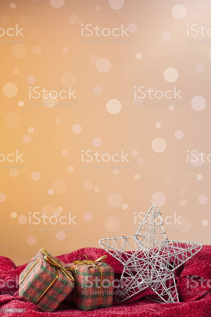 Christmas: gifts in colorful wrapping with golden ribbons royalty-free stock photo