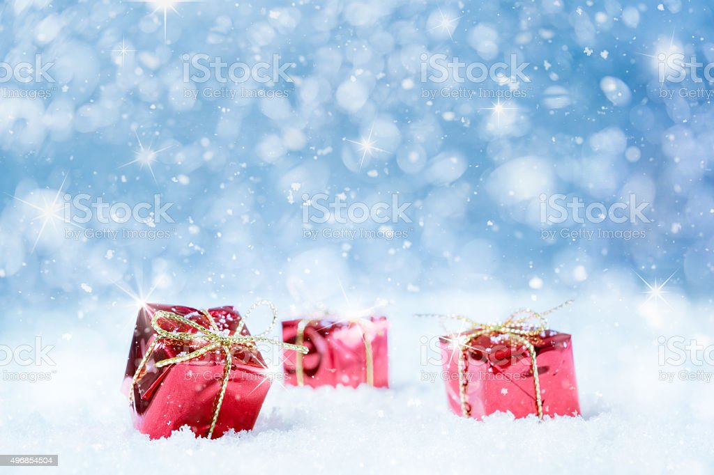 Christmas Gifts in Snow stock photo