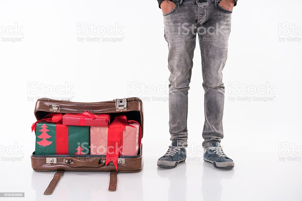 Christmas gifts  ın the retro suitcase stock photo