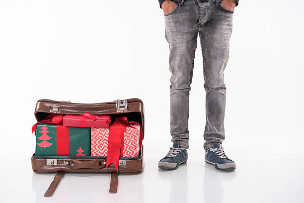 christmas gifts  ın the retro suitcase - deko koffer stock-fotos und bilder