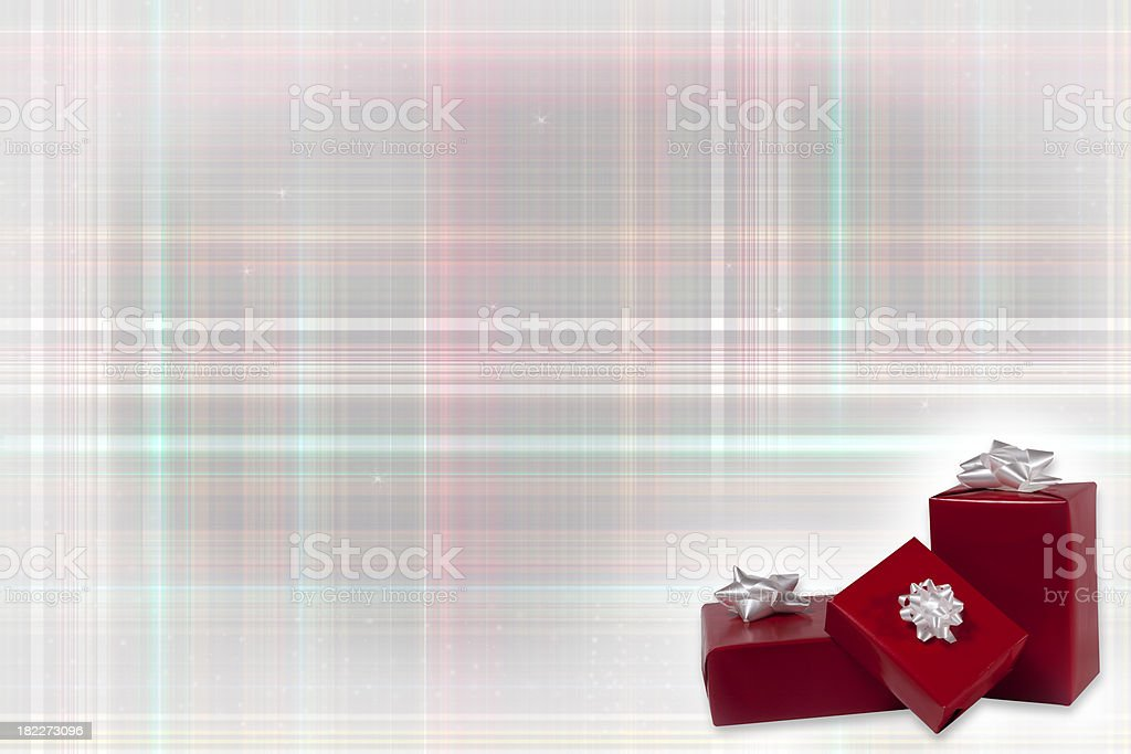 Christmas Gifts on a Plaid Background royalty-free stock photo