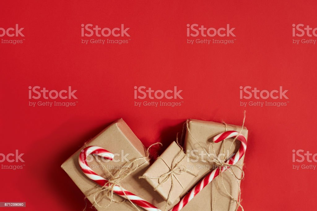 Christmas Gifts On Hot Red Background Christmas And New Year Theme Place For Your Text Wishes Logo Mock Up Stock Photo Download Image Now Istock