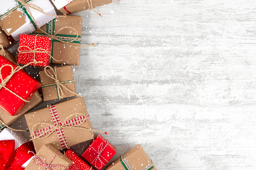 Christmas Gifts On Wooden Table Stock Photo - Download Image Now