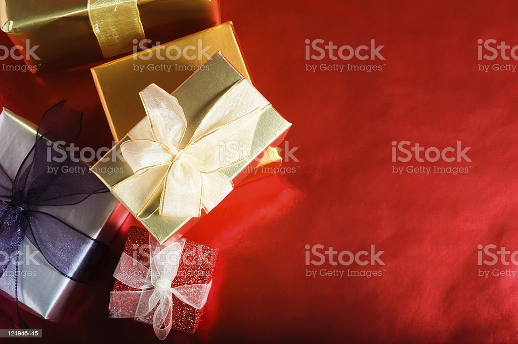 Christmas Gifts Overhead royalty-free stock photo