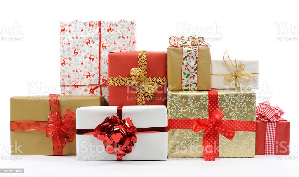 christmas gifts christmas gifts on white background Box - Container Stock Photo