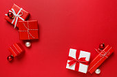 Christmas gifts presents simple classic red background