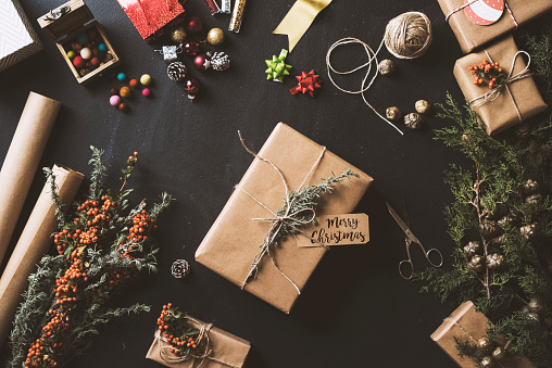 Christmas Gifts Table Top Flat Lay Stock Photo - Download Image Now