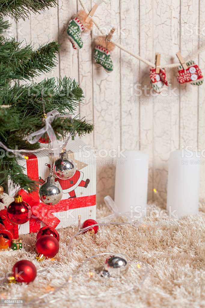 Christmas gifts under the tree stock photo