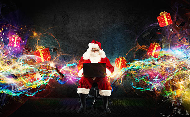 christmas gifts with fast internet - weihnachtsprogramm stock-fotos und bilder