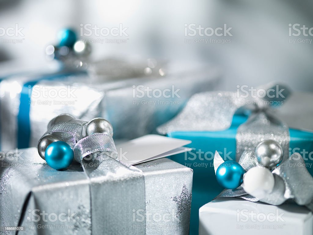 Christmas gifts with silver ribbon stock photo