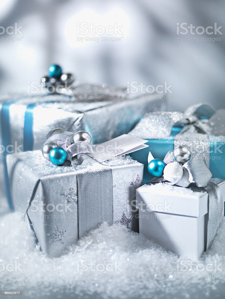 Christmas gifts with silver ribbon royalty-free stock photo