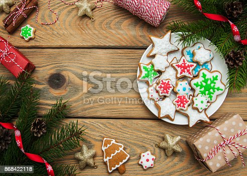 istock Christmas ginger and honey colorful cookies 868422118