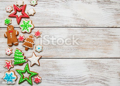 istock Christmas ginger and honey colorful cookies 869003788