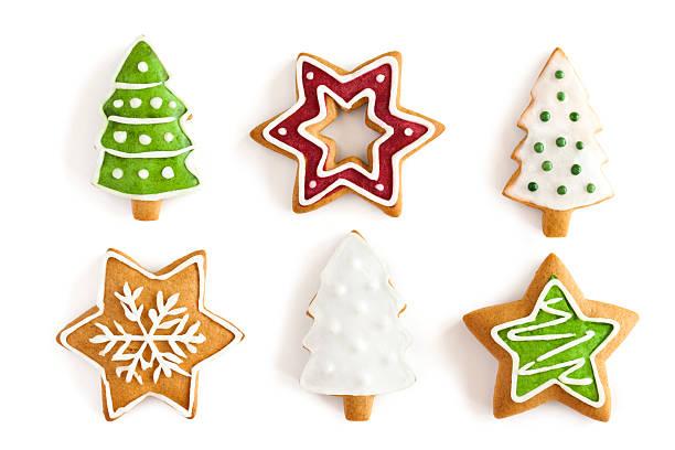 Weihnachten Ingwer cookies auf isoliert Weißer Hintergrund – Foto