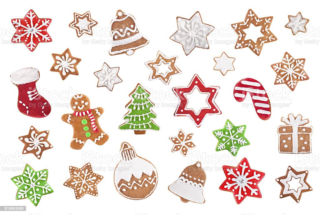 Christmas gingerbread cookie set isolated on white stock photo