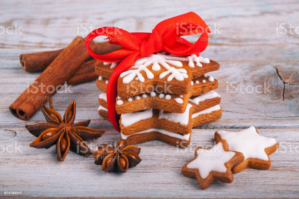Christmas Gingerbread Cookie Stars And Spice On Rustic White