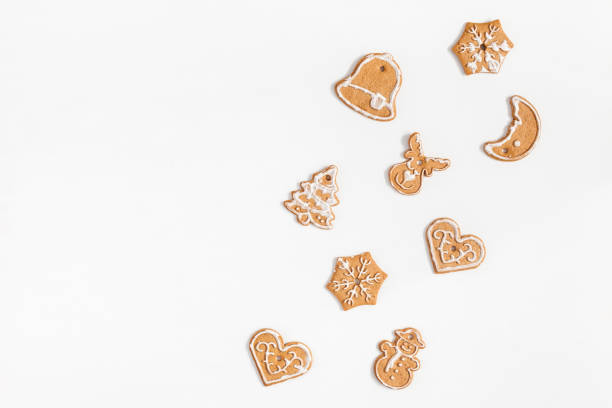 Christmas gingerbread cookies. Flat lay, top view, copy space stock photo