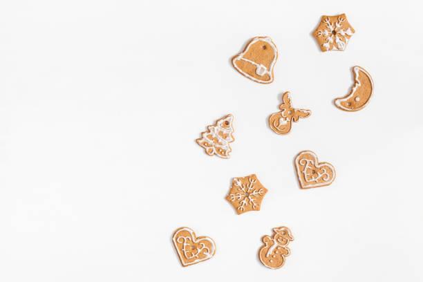 weihnachten lebkuchen. flach legen, top aussicht, textfreiraum - backrahmen stock-fotos und bilder