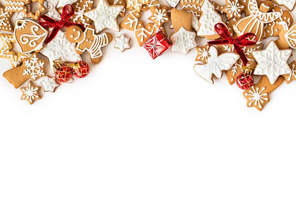 Weihnachten Lebkuchen cookies frame auf weißem Hintergrund – Foto