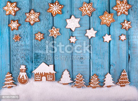 istock Christmas gingerbread cookies on blue vintage wooden table 623375870