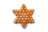 Christmas gingerbread cookies on white background.