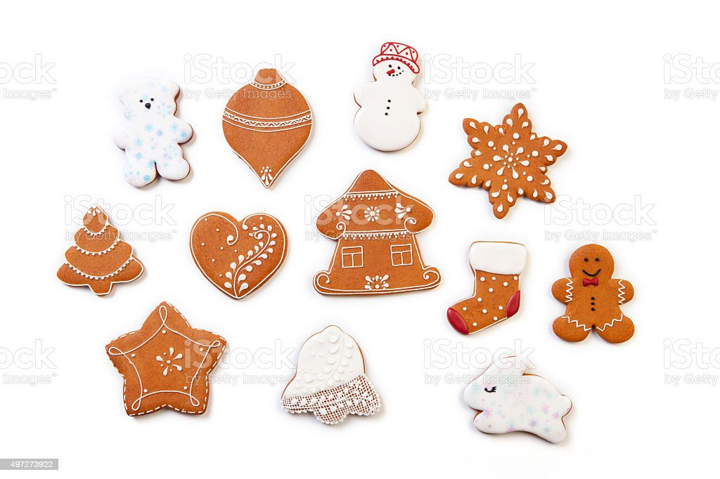 Christmas gingerbread cookies on white background. stock photo