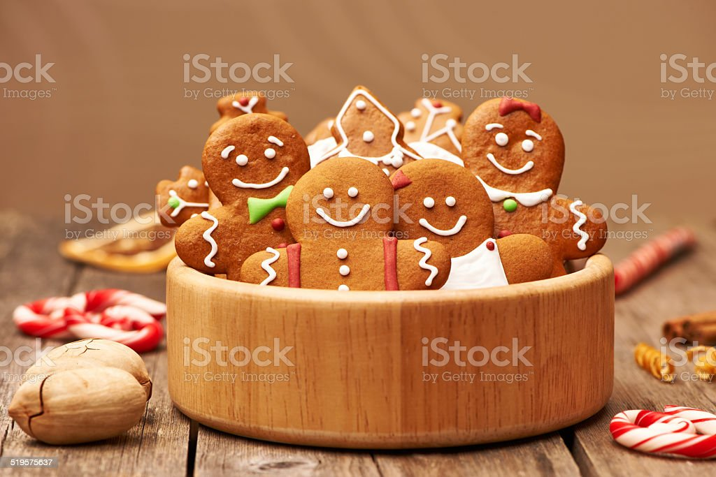Christmas gingerbread cookies stock photo