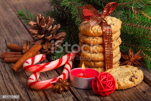 istock Christmas Gingerbread cookies with decorations 621712802