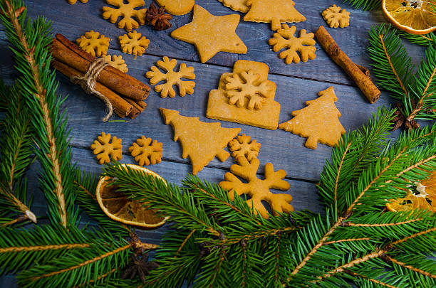 Christmas gingerbread cookies with different decoration stock photo