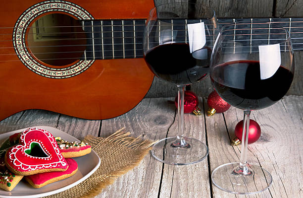 christmas gingerbread guitar and Wine romantic new year background