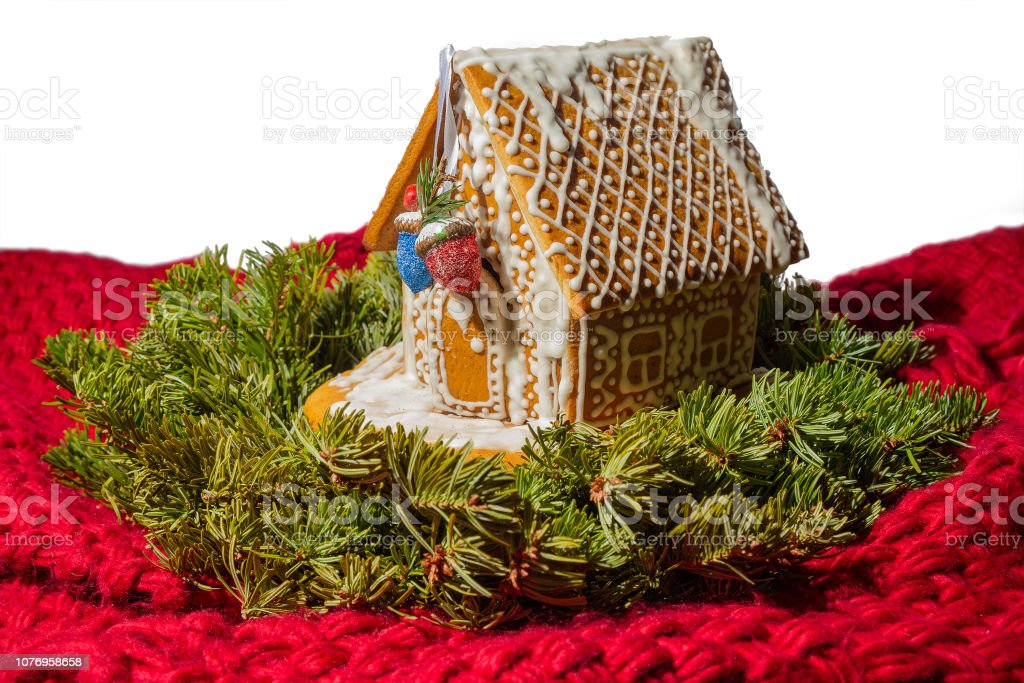 Christmas Gingerbread House Background.Christmas Gingerbread House Isolated On White Background