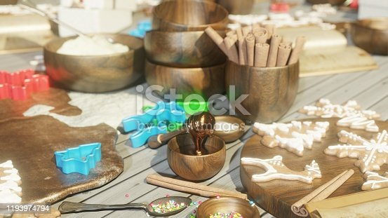 istock Christmas gingerbread in the Christmas kitchen. Christmas kitchen interior with kitchen table. 3D Rendering 1193974794
