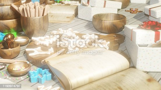 istock Christmas gingerbread in the Christmas kitchen. Christmas kitchen interior with kitchen table. 3D Rendering 1193974797