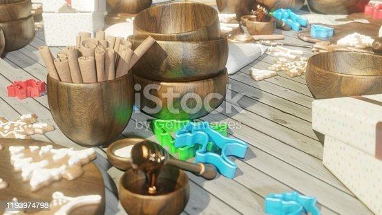 istock Christmas gingerbread in the Christmas kitchen. Christmas kitchen interior with kitchen table. 3D Rendering 1193974798