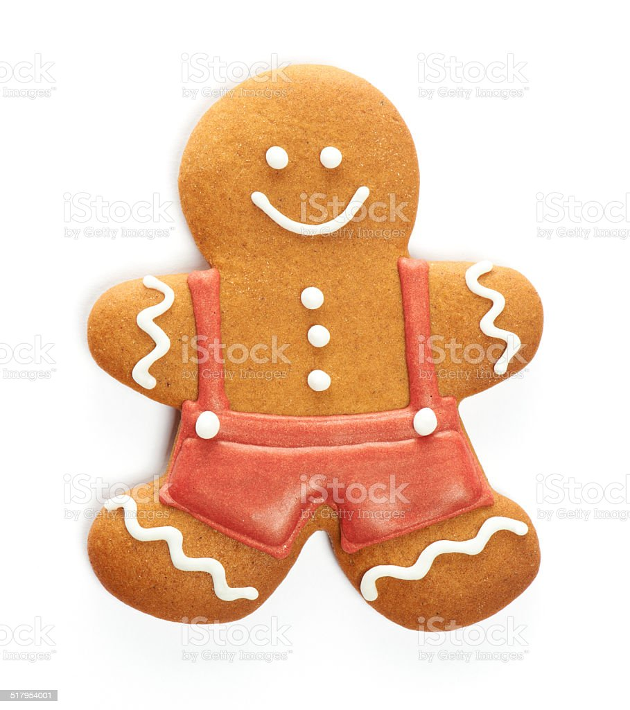 Christmas gingerbread man cookie stock photo