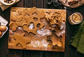 istock Christmas Gingerbread Man Cookies Holiday Baking Dough 1068415724