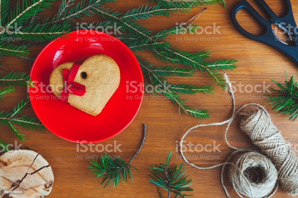 Christmas gingerbread on a table royalty-free stock photo