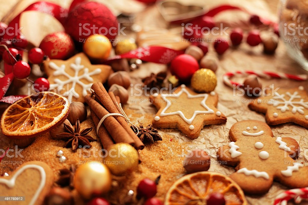 christmas gingerbreads baking stock photo