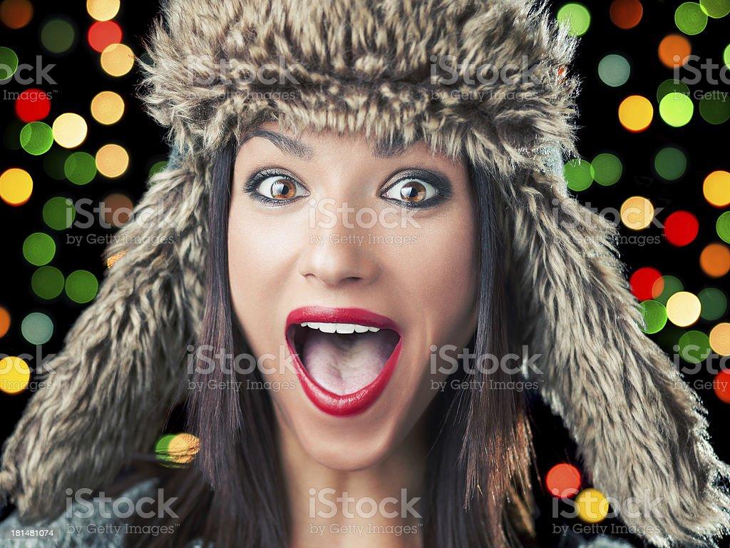 Christmas girl excited stock photo