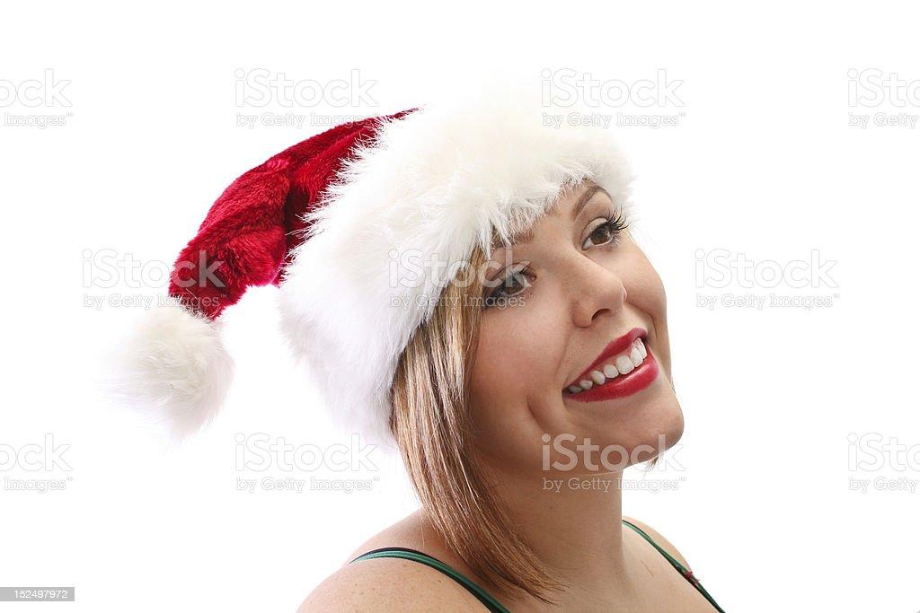 Christmas Girl in Santa Hat royalty-free stock photo