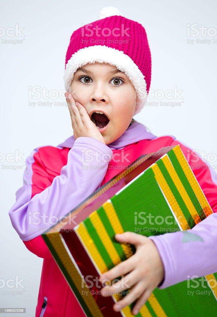 Christmas. Girl in santa stock photo