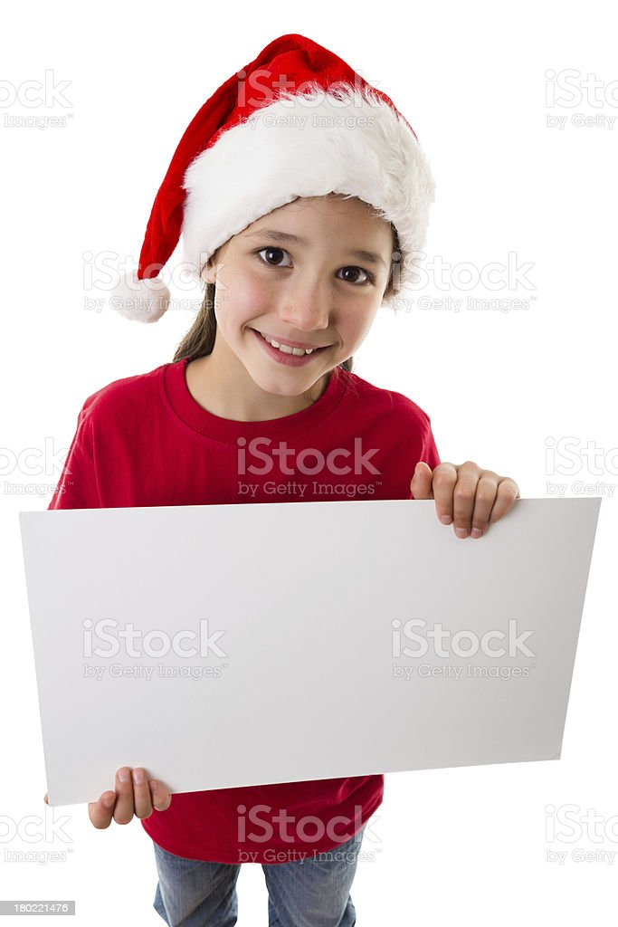 Christmas girl standing with empty blank royalty-free stock photo